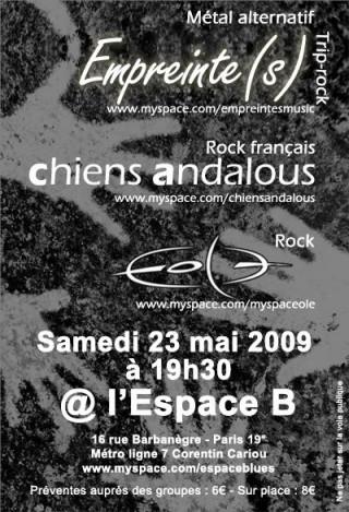 Concert à L'Espace B avec Chiens andalous + Eole