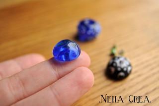 Cabochon en verre bleu (COH'DA)