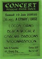 Flyer Concert AD'HOC - Reggae/Funk/Rock